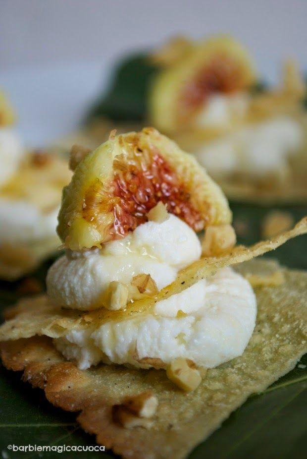 Millefeuilles ricotta chèvre figues noix miel et thym - Millefoglie ricotta, fichi, miele e noci - finger food