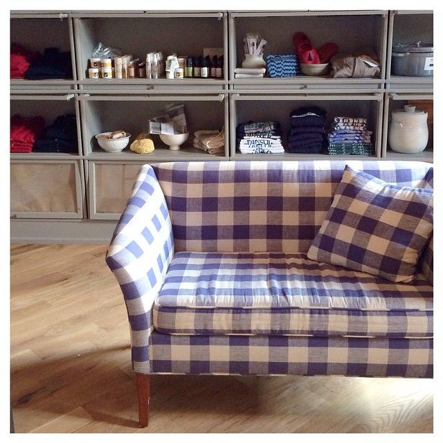 """Love this vintage gingham loveseat at the Wythe hotel  And all the goodies in the new #marlowgoods shop """