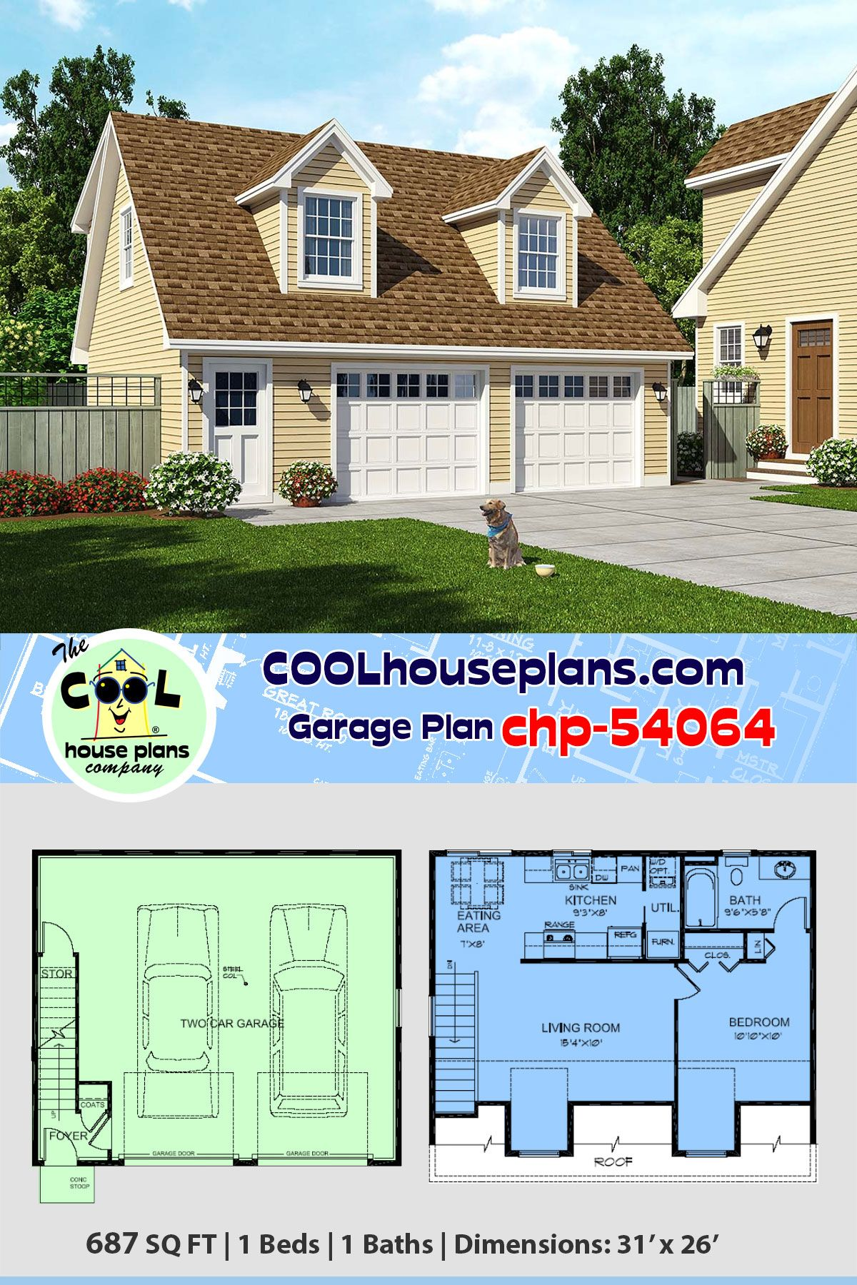 Two Car Garage Apartment Home Plan Chp 54064 Has 687 Sq Ft Of Living Space Above 1 Bedro In 2020 Carriage House Plans Garage Floor Plans Garage Apartment Floor Plans