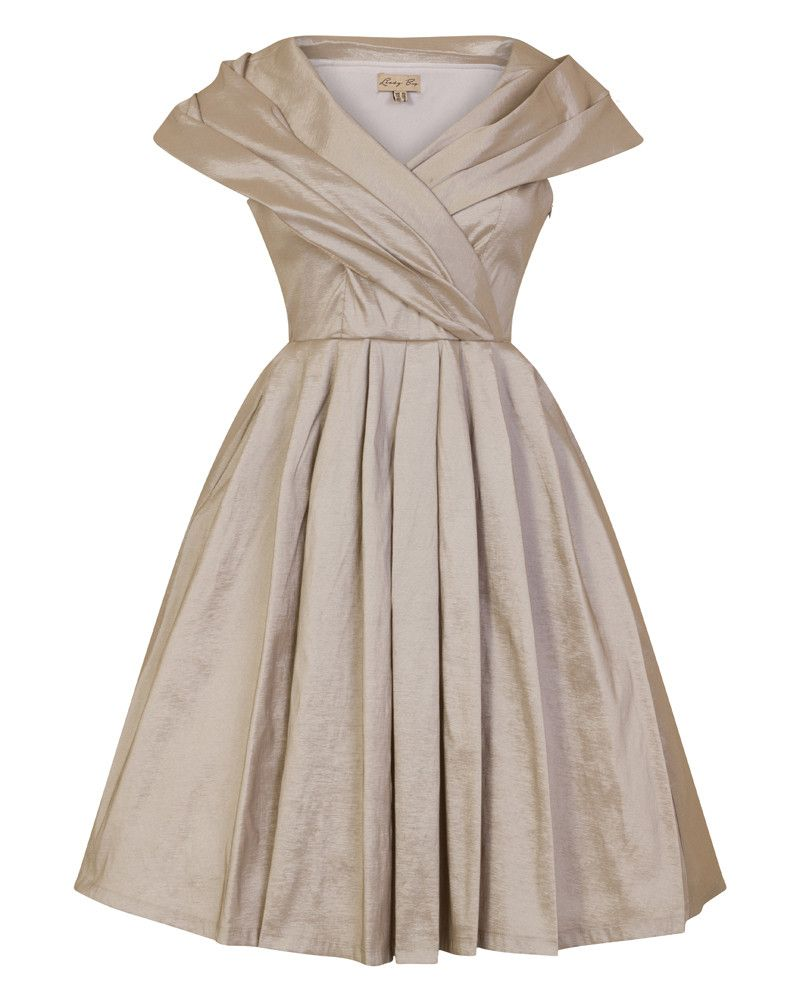 f3d4162a70ec Amber  Vintage 1940s Silver Occasion Dress with Oversized Collar