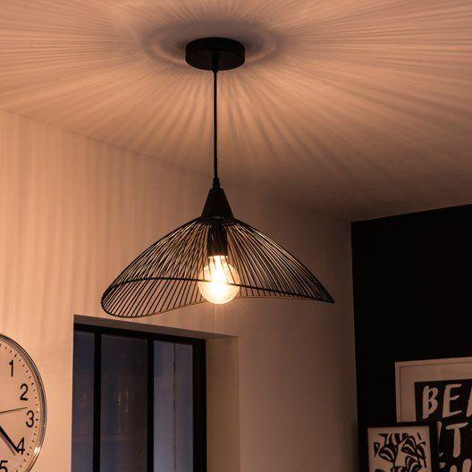 Suspension E27 Design Kasteli Metal Noir 1 X 40 W Seynave Decoration Maison Deco Et Metal Noir