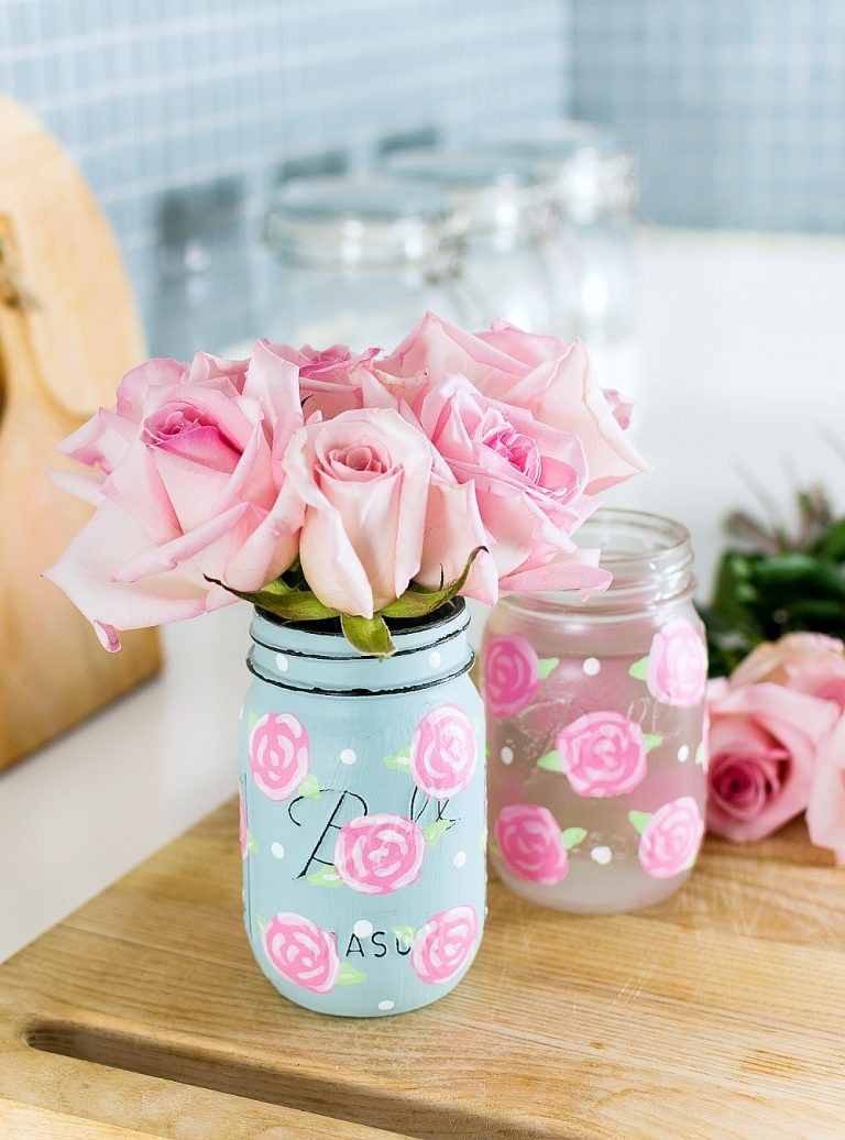Painted Rose Mason Jars Spring Mason Jar Mason Jar Decorations Mason Jar Diy