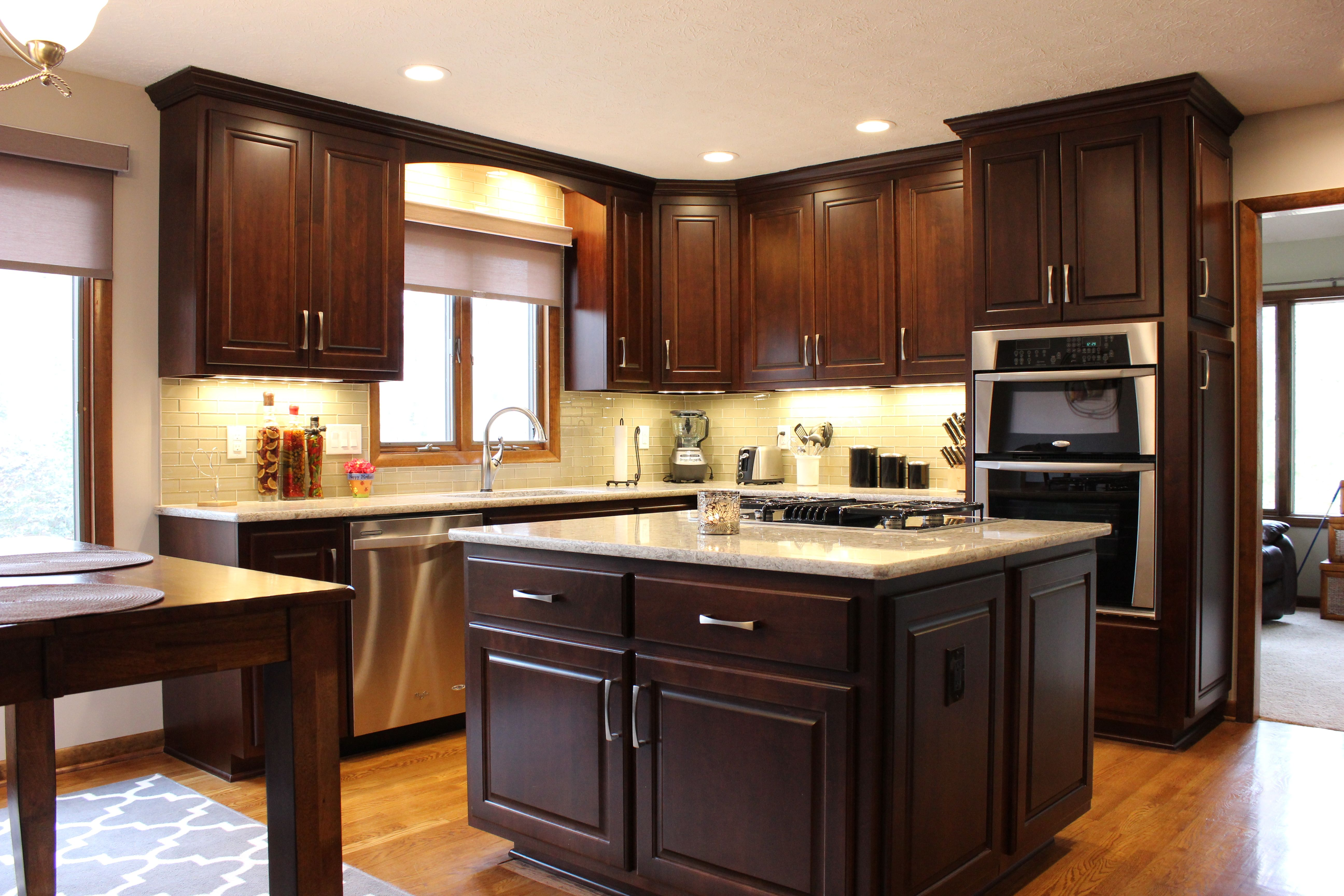 Custom Cabinets With Dark Cherry Stain Island With Storage