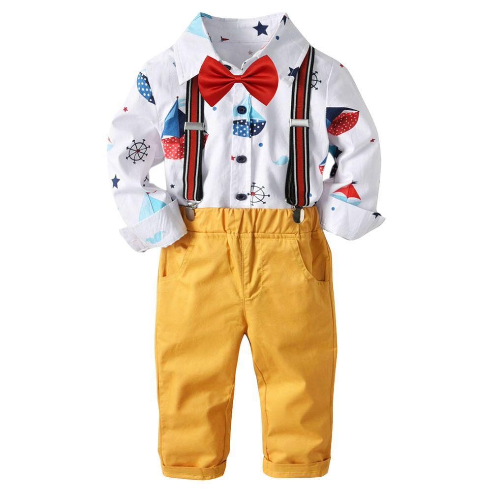 afb7d826fb5a UK Kids Boys Clothing Set Gentleman Shirt Suspender Trousers Bow Tie ...