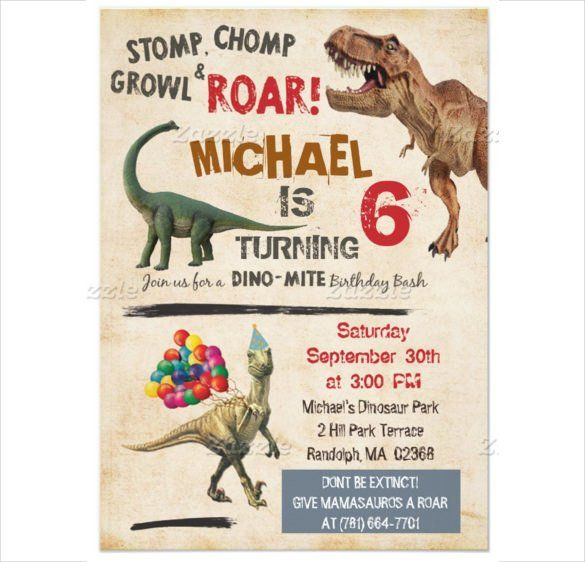 Dinosaur Birthday Invitation Template - 30+ Free PSD,EPS,JPG - birthday cards format