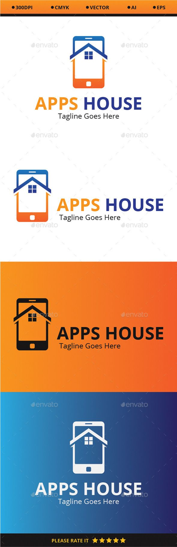 Apps House Logo Design Template Vector #logotype Download it here:  http://graphicriver.net/item/apps-house/9319035?s_rank=1340?ref=nexion