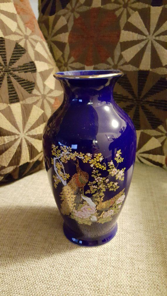 Vintage Davar Originals Cobalt Blue Japanese Bud Vase Decorated With