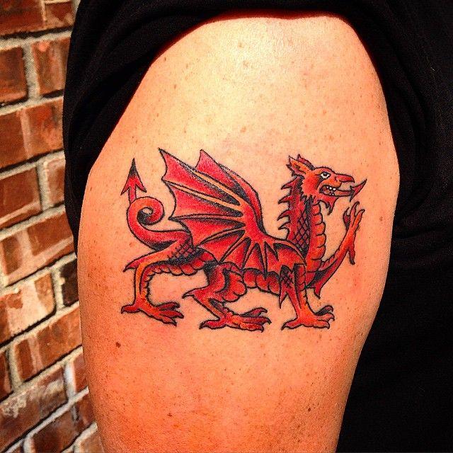 Color Tattoo By Matt From Black Sails Tattoo: Wales Tattoo, Welsh Dragon Tattoo, Welsh Flag Tattoo
