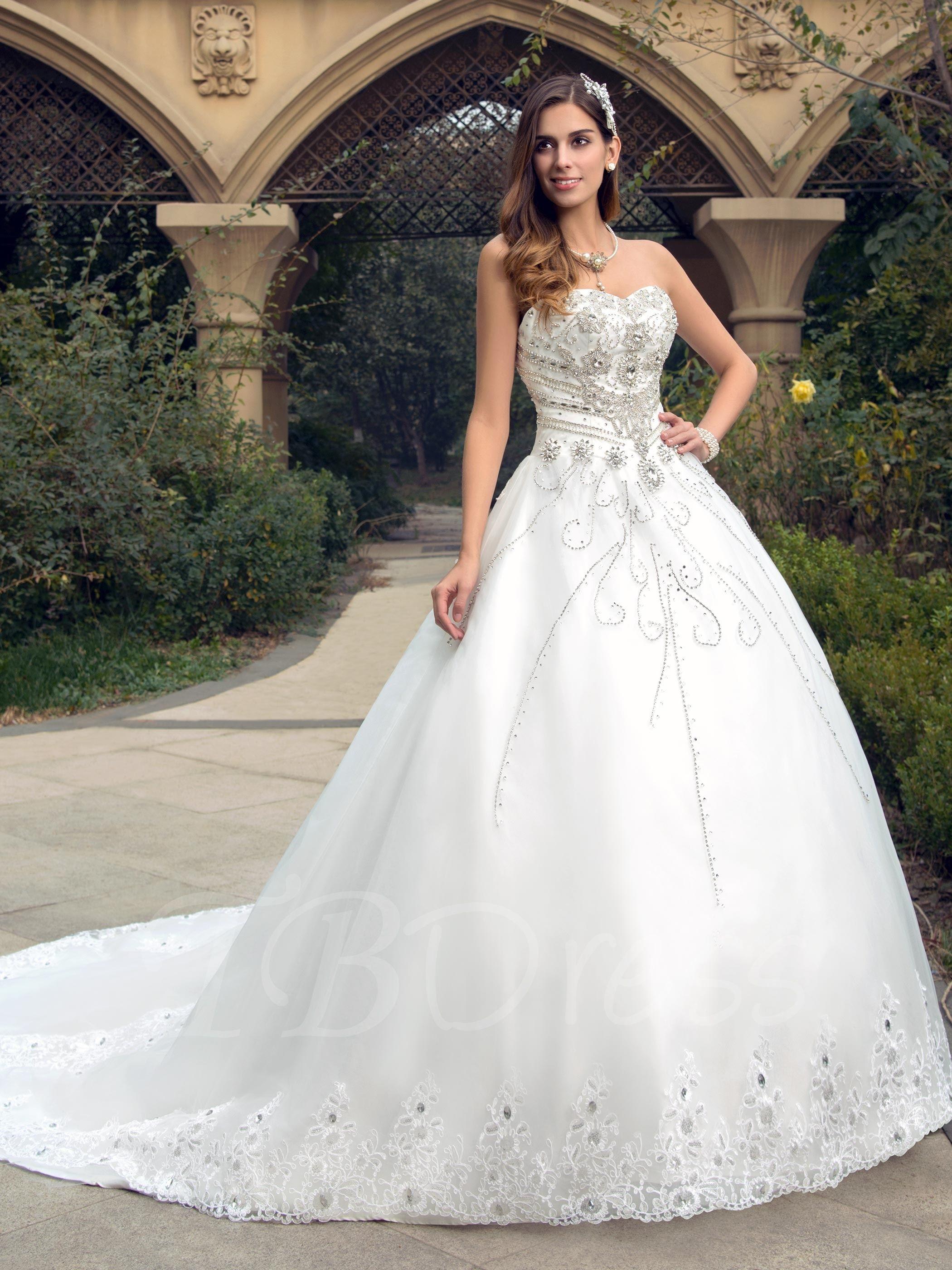 Sweetheart neckline rhinestone court train wedding dress black and