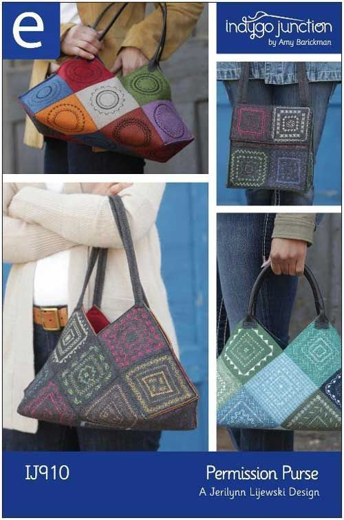 These fun bags are easy to make using felted fabric squares embellished with the built-in decorative stitches.