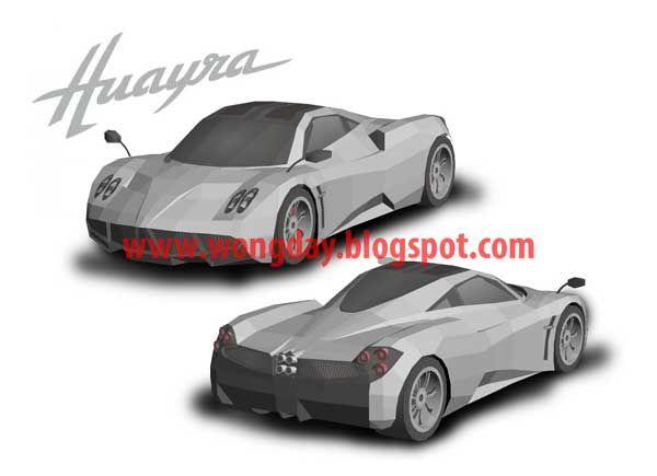 pagani huayra sport car free vehicle paper model download