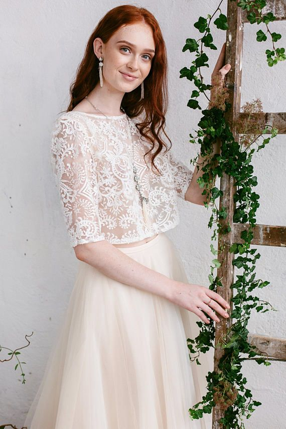 a2d8ff38b478a Bridal Crop Top - Astrid Bridal lace top created of ivory beaded lace and  lined with