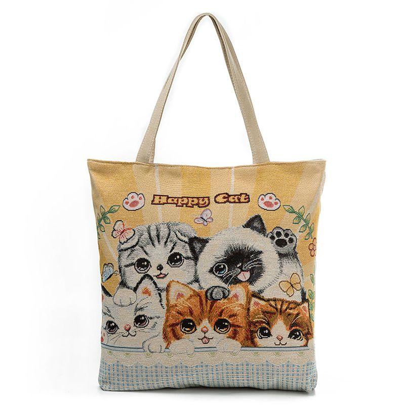 Cat Print Canvas Tote Bag - Cat Stuff For Cat Lovers