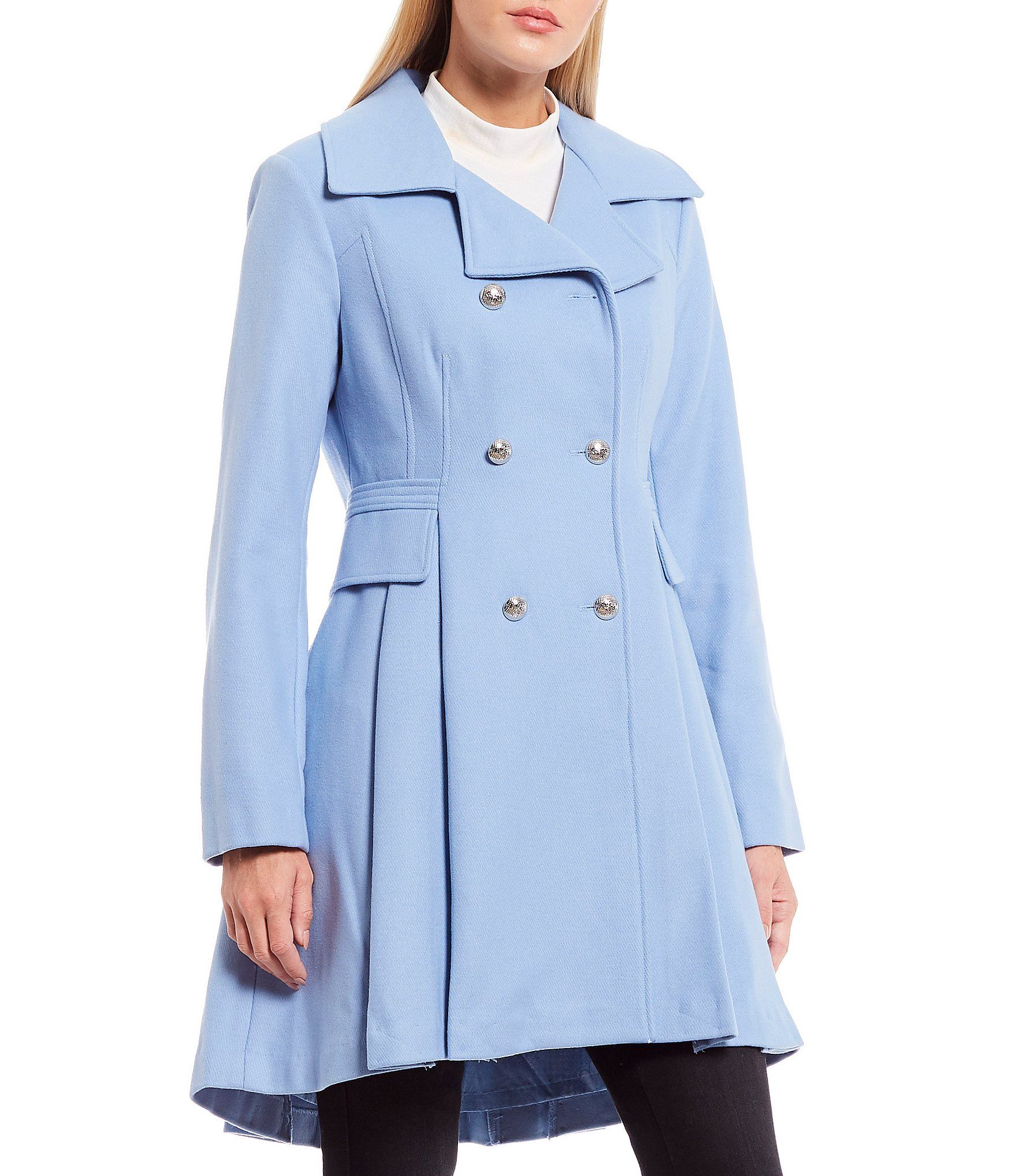 GUESS Double Breasted Wool Blend Coat (Online Exclusive