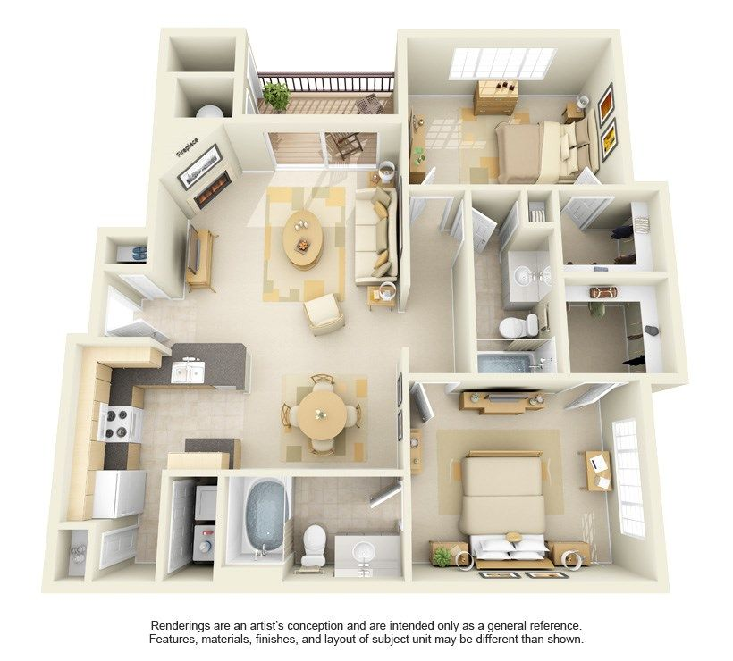 1, 2 & 3 Bedroom Apartments in Parker, CO | Cherrywood | Floor Plans #apartmentfloorplans