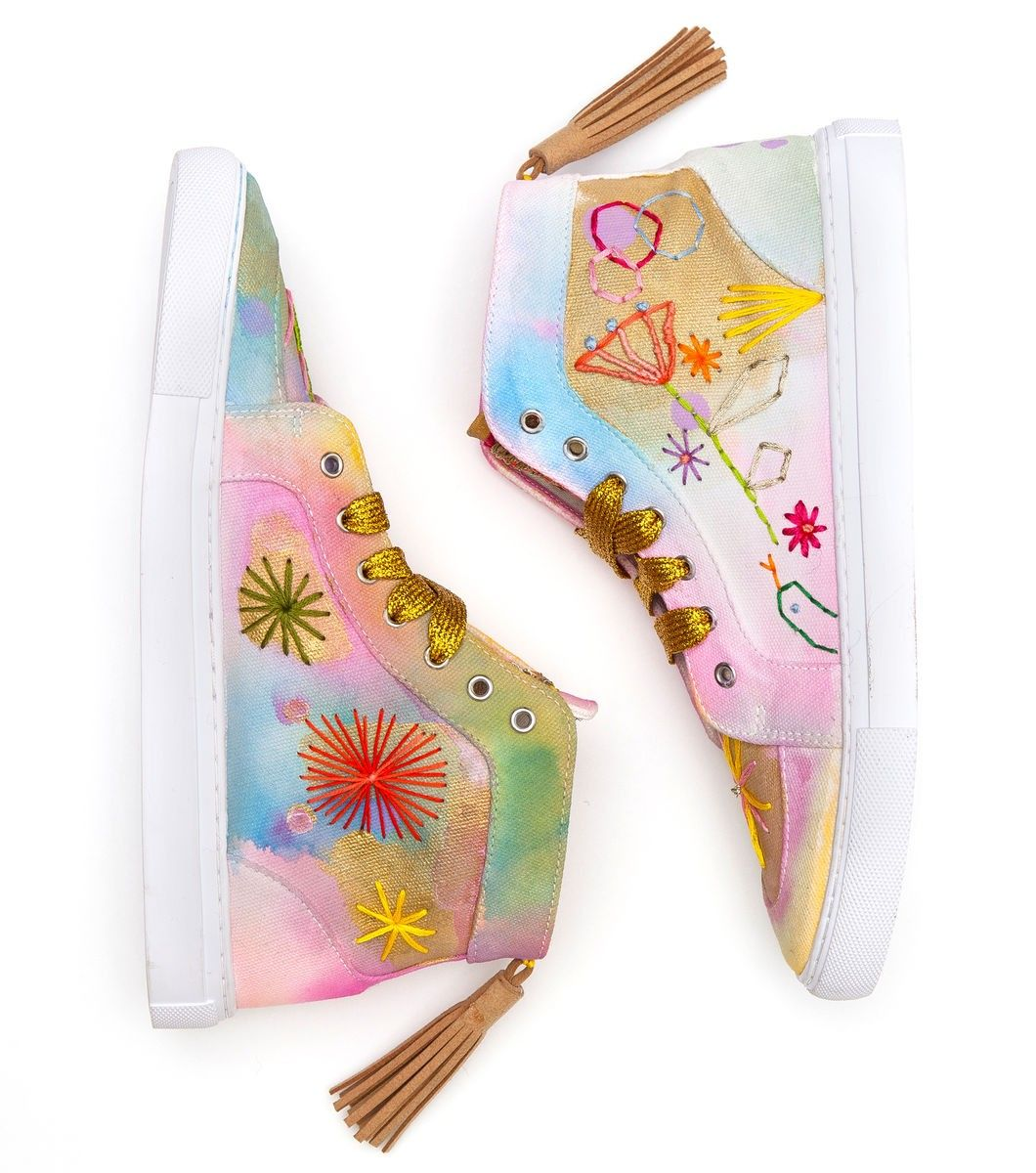 Adventure Sneakers by Madeleine Stamer, One of a kind customized sneakers to be auctioned off with all proceeds going towards kids art therapy school, Little Seeds Big Trees. www.gormanshop.co...