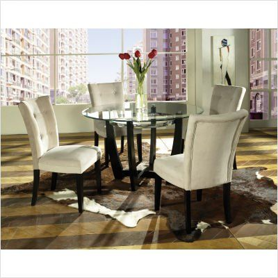 Amazon.com: Bundle-48 Matinee Dining Table Set with Beige Parson Chair (4 Pieces): Home & Kitchen