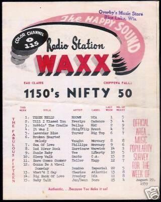 Waxx 1150 Eau Claire Survey 08 29 59 Radio Station Surveys Radio