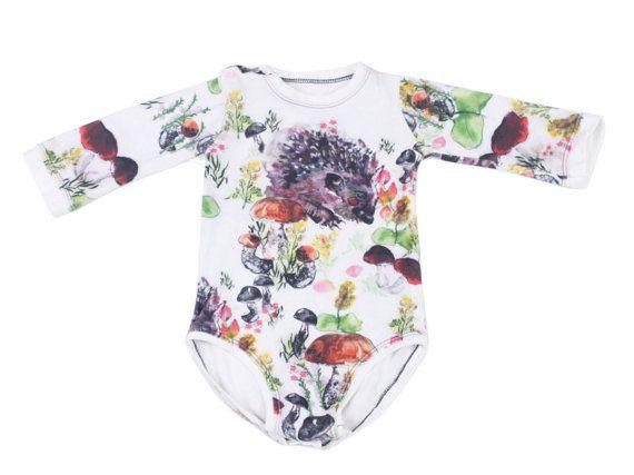 69a93e99b8e1 Hedgehog Onesie Long Sleeve Baby Bodysuit by PettiBearKIDS