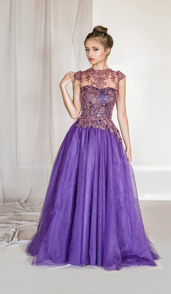 Sample Sale Violet Lace And Tulle Evening Gown Purple Evening