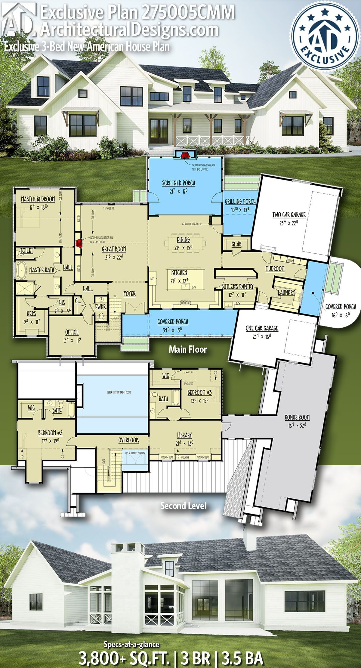 Architectural Designs Exclusive New American Plan 275005cmm 3 Bedrooms 3 5 Baths And 3 800 Sq Ft Ready When American House Plans House Plans American House