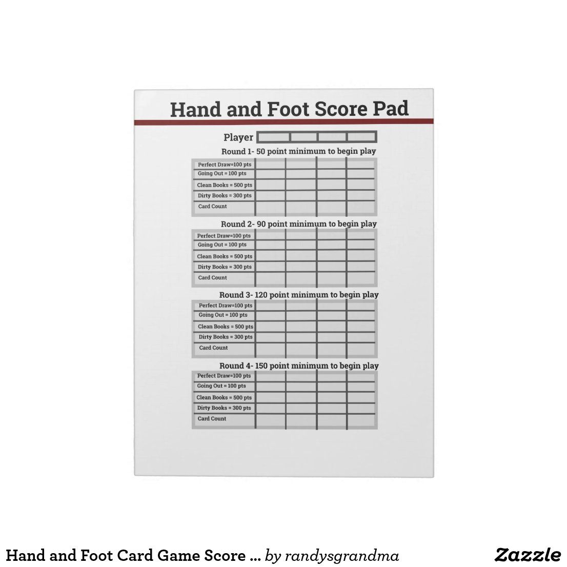 Hand and foot card game score pad in 2020