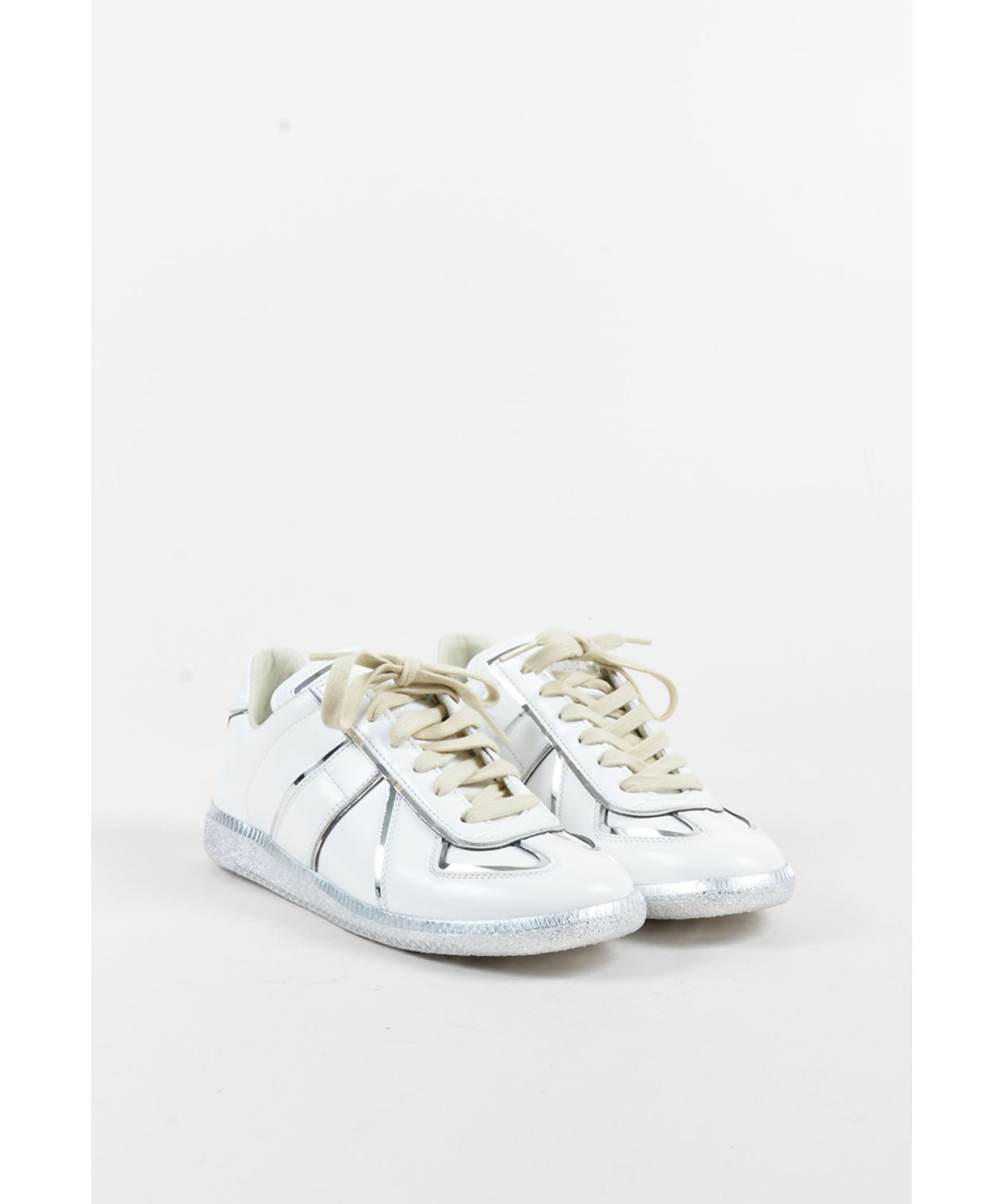 MAISON MARGIELA | White & Metallic Silver Leather Lace Up Sneakers #Shoes  #Sneakers #