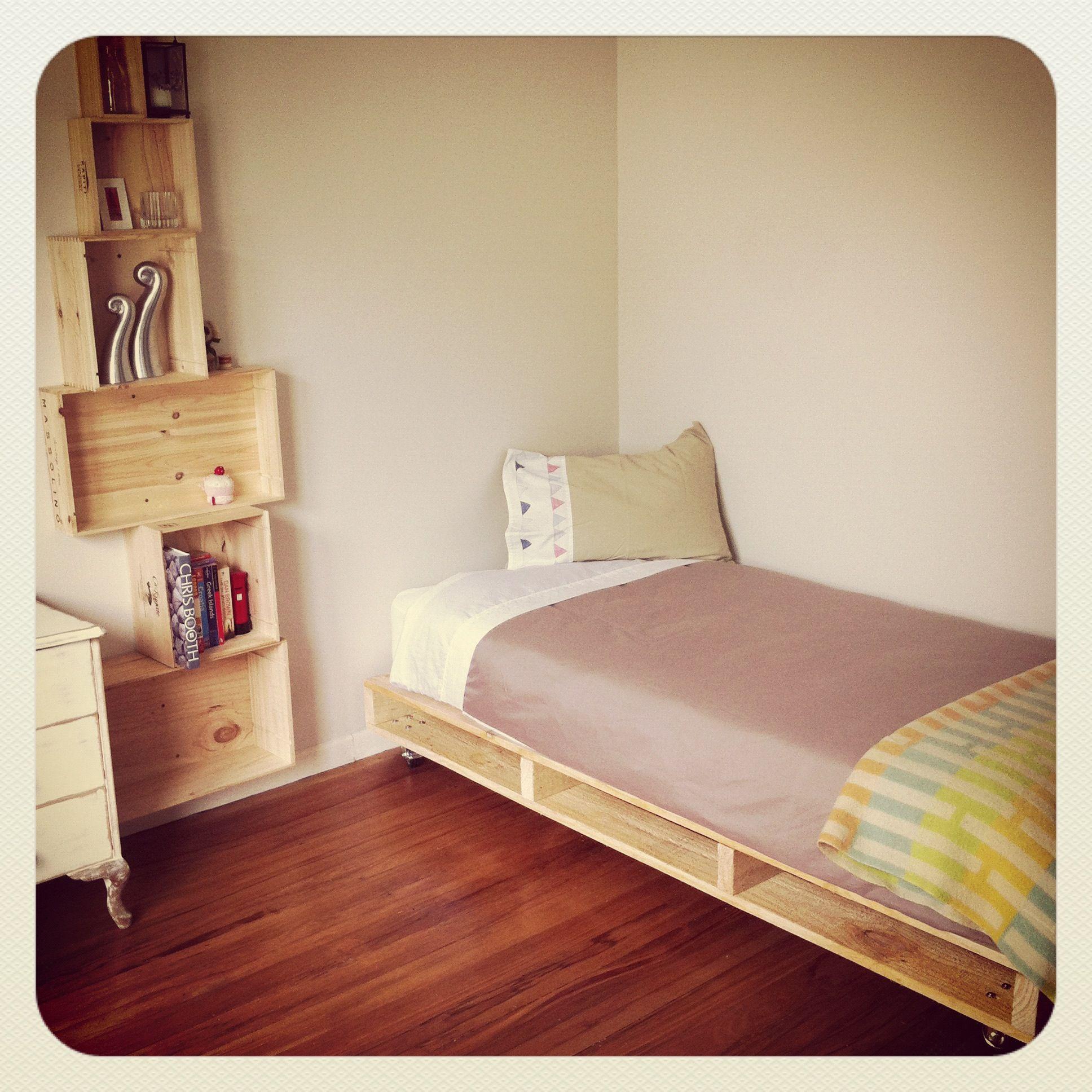 Wooden furniture box beds - Pallet Bed Wooden Box Shelf Storage
