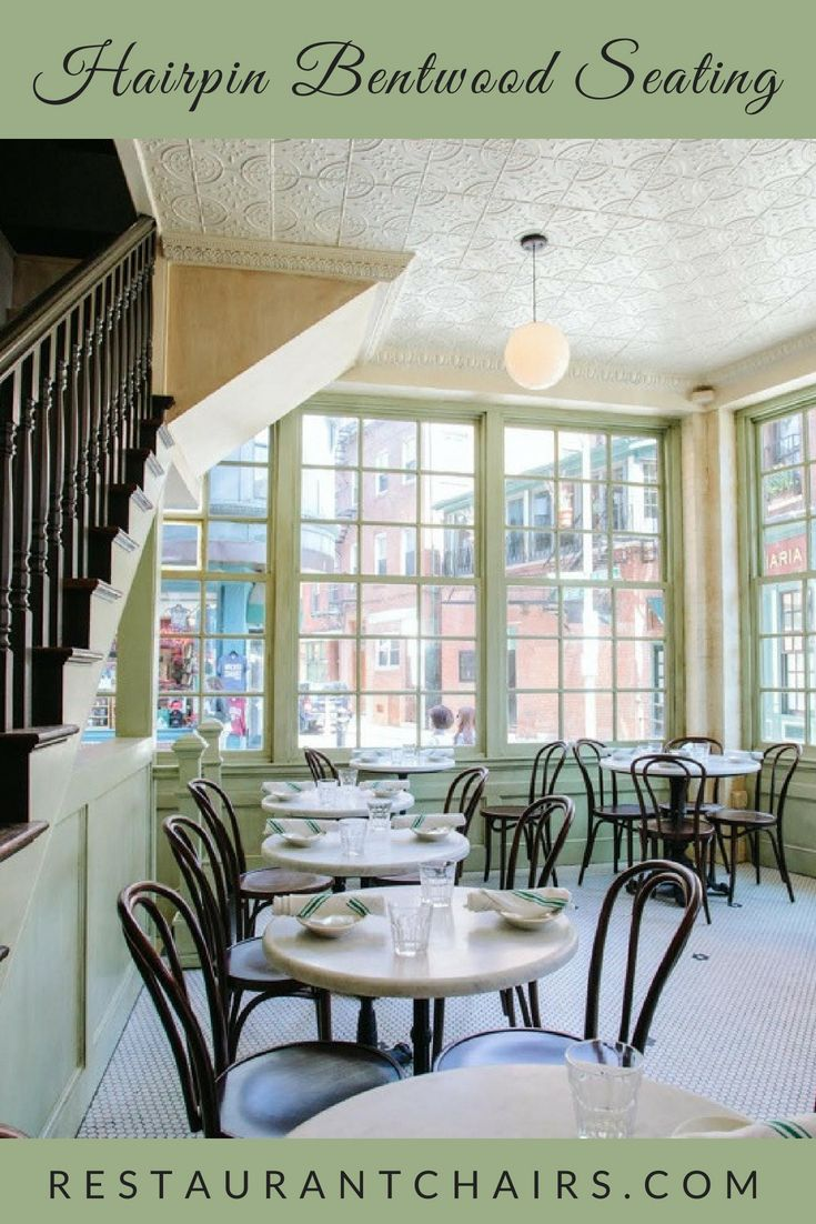 Create your entire #restaurantdesign in one stop at RestaurantChairs.com! The classic #hairpinchair Model 6018 brings old world charm to North Square Oyster in Boston. Our decorative 3 and 4 leg table bases, Models #1319 and #1024 enhance the #vintageinteriordesign. Shop our entire collection of affordable and durable #bentwoodchairs, #hairpinstools and #tablebases and create your own unique design! #thonet