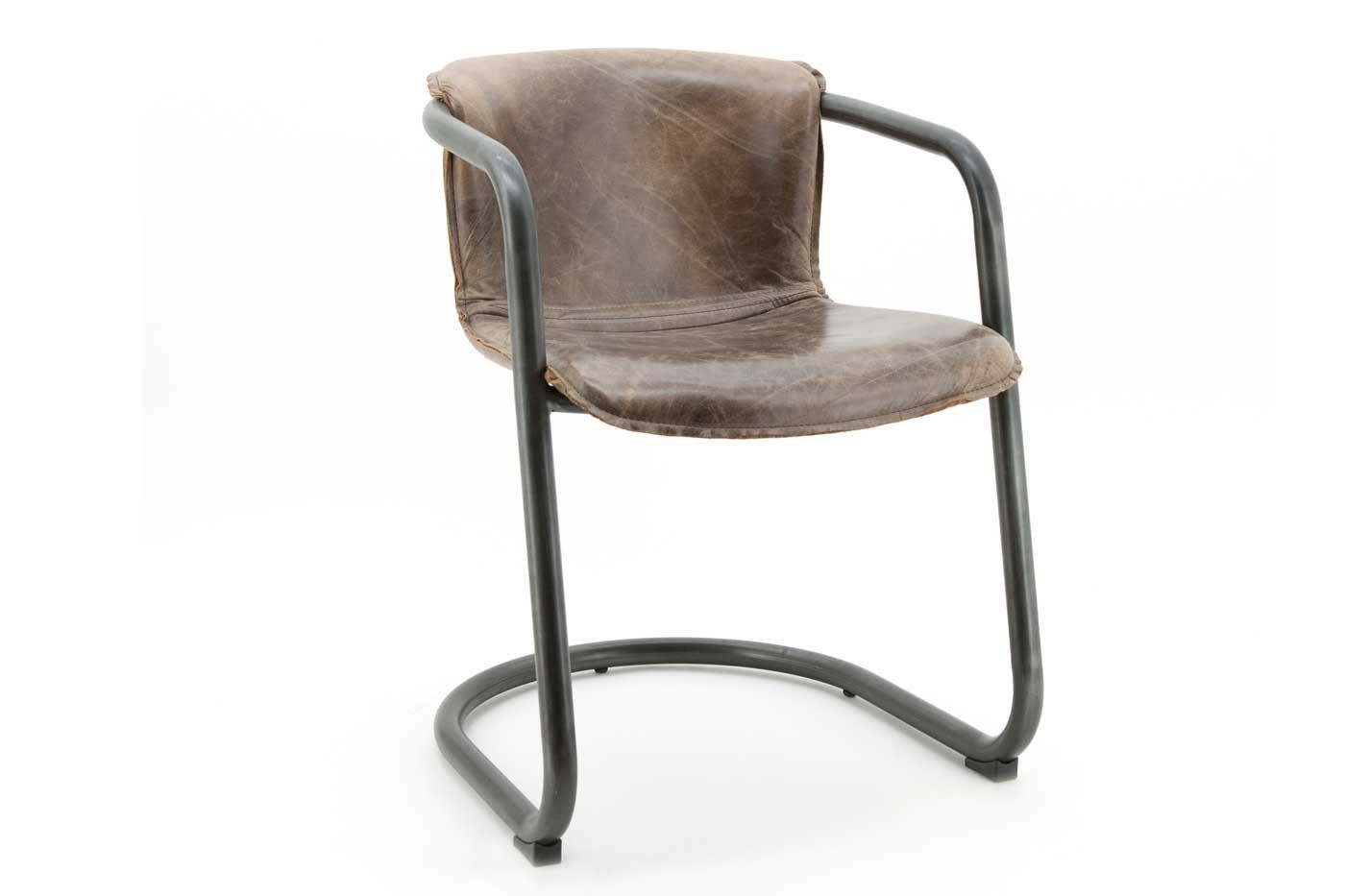 Leder Freischwinger Stuhl Daan Industriedesign Vintage Leder Braun