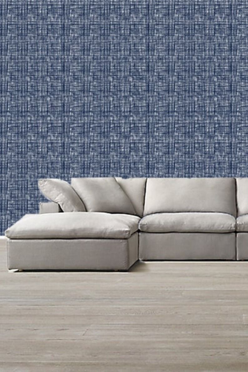 Navy White Linen Wallpaper Removable Abstract Wallpaper