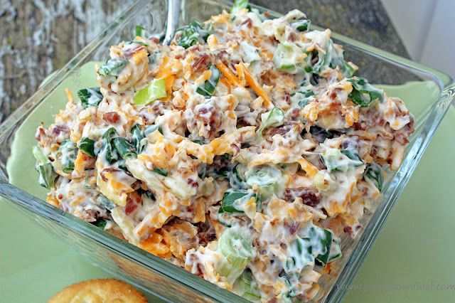 Neiman Marcus Dip {Just a Spoonful of Blog} cheddar cheese, green onions, mayonnaise, bacon, slivered almonds...