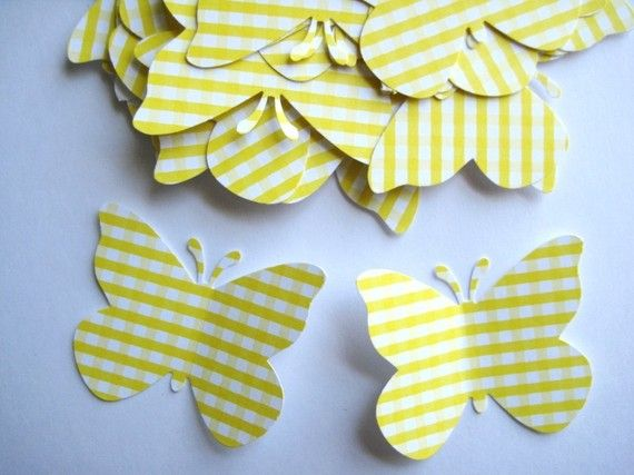 40 Large Pastel Yellow Gingham Butterfly by ThePrettyPaperShop, $3.00