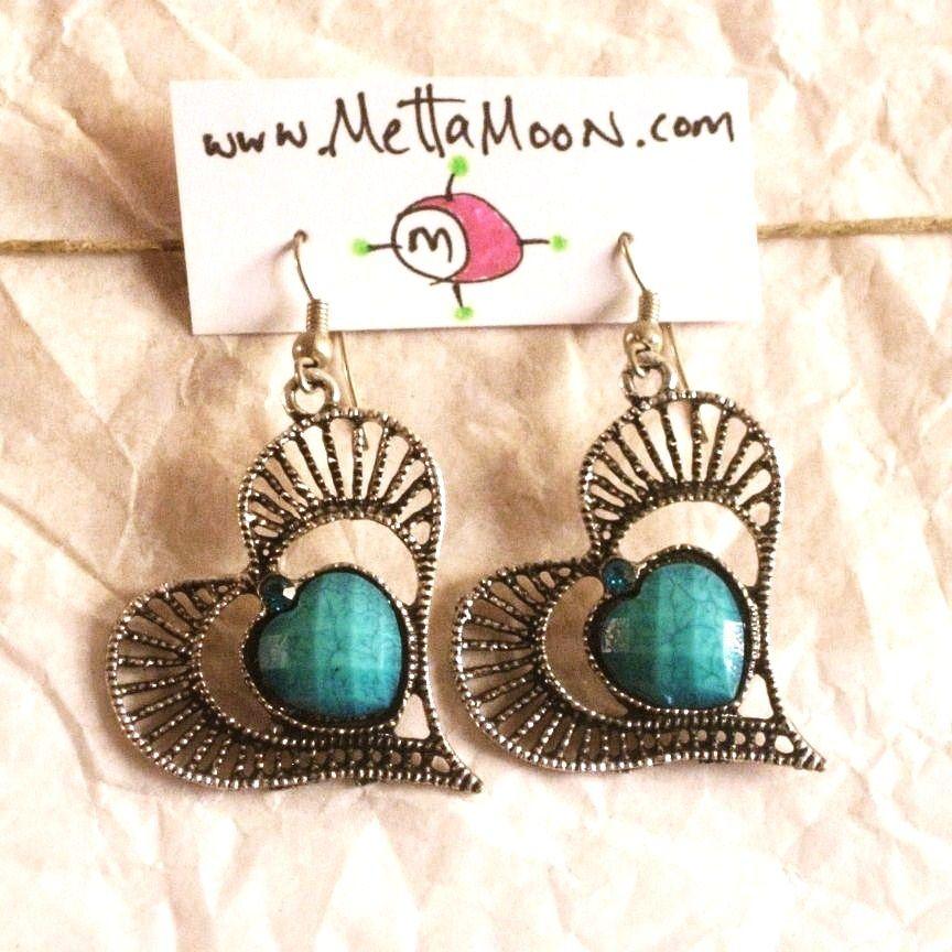 $15 MettaMoon Blue Heart Earrings