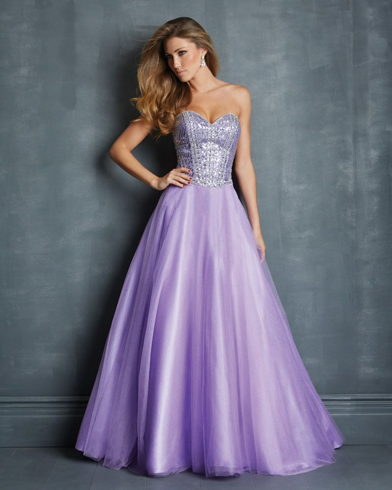 A Line Sweetheart Full Length Tulle Beaded Lilac New 2015 Prom ...