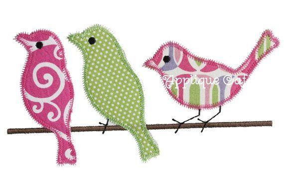 Zig zag birds machine embroidery applique design products