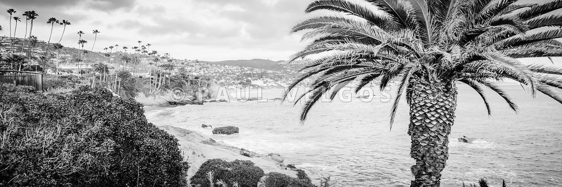 Art print stock photo laguna beach black and white