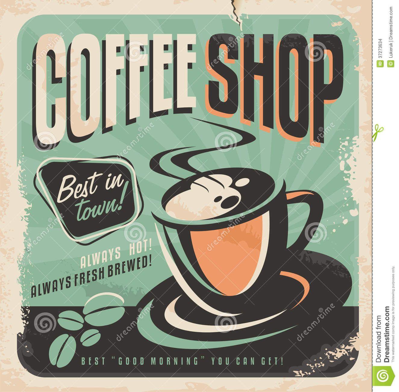 Retro Poster For Coffee Shop Stock Images - Image: 37273634