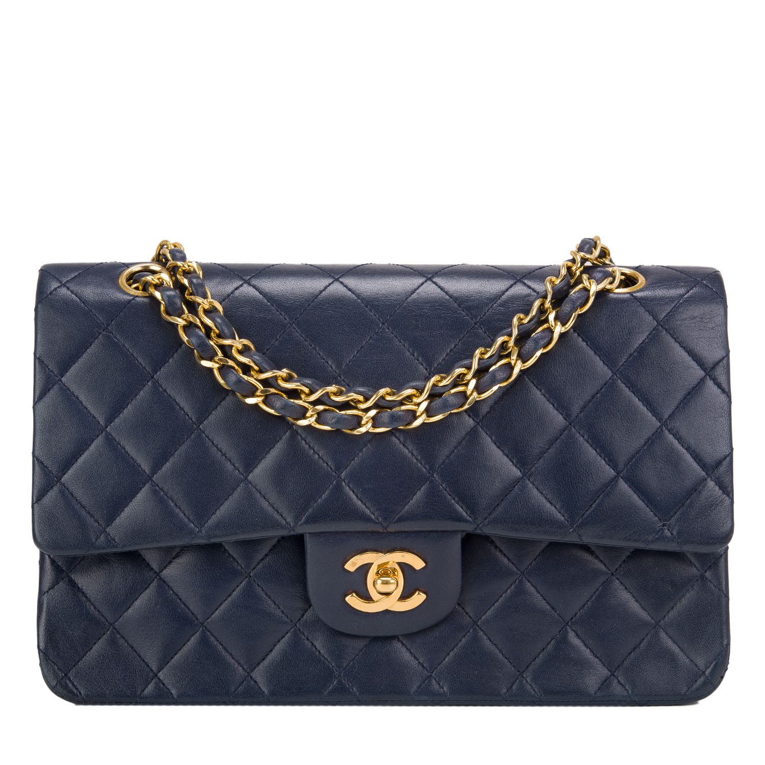 2e85112668ad Chanel Vintage Navy Quilted Lambskin Large Classic Double Flap Bag Image 1