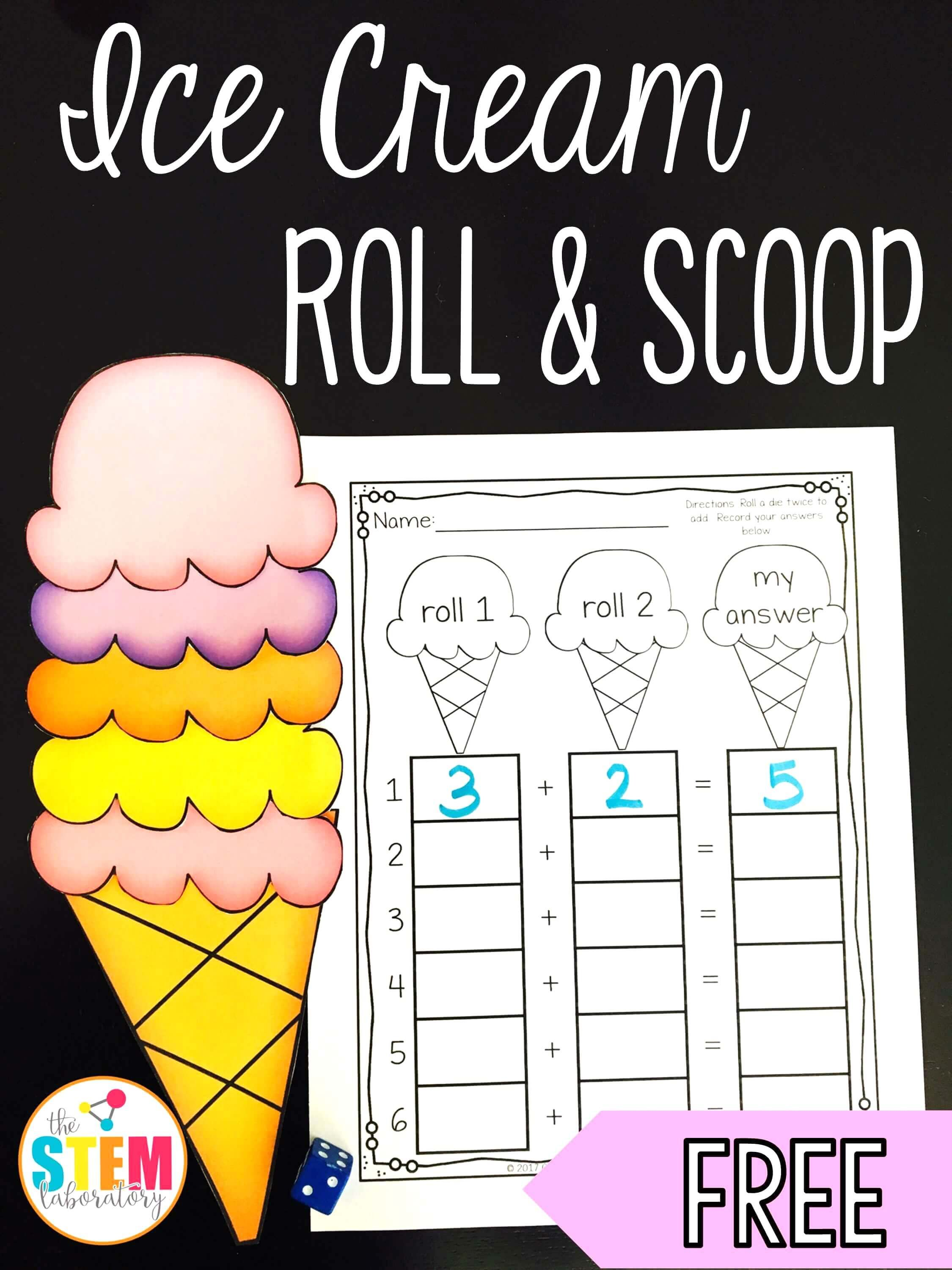 Ice Cream Roll and Scoop Math addition, Addition games