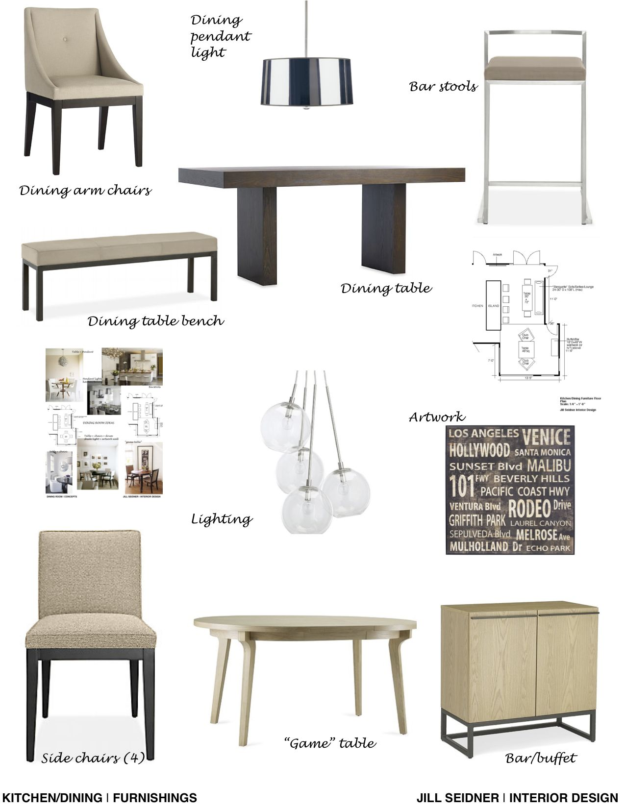 Furnishings Concept Board For A Dining Area Interior Design