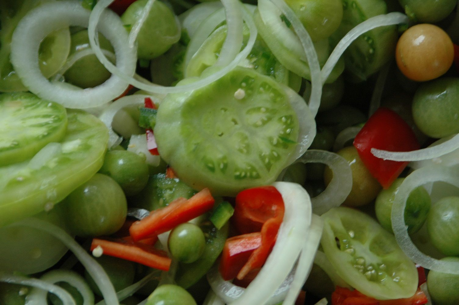 Green tomato salsa, raspberry jelly, orange curd.. Green