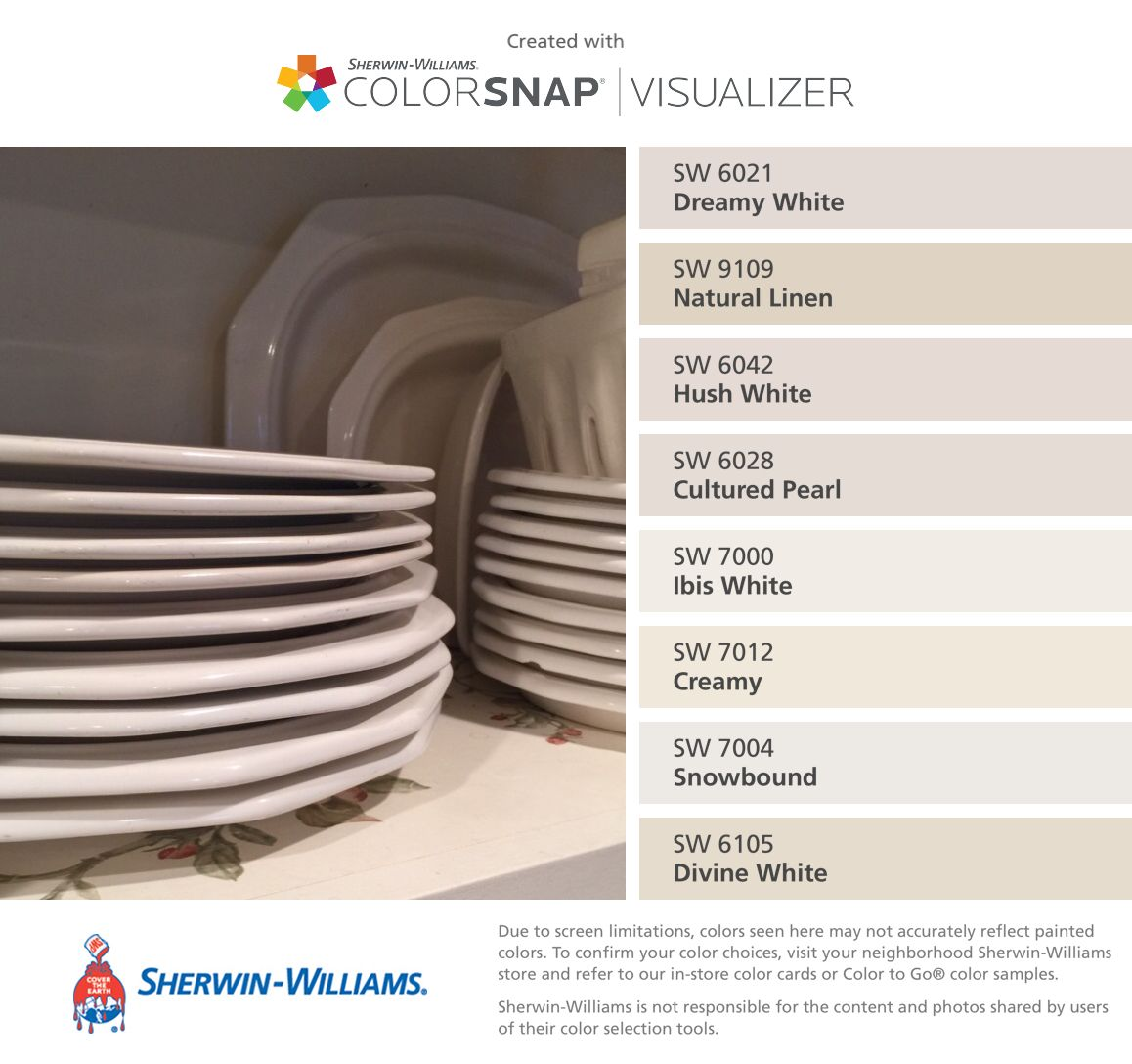 I Found These Colors With Colorsnap Visualizer For Iphone By Sherwin Williams Dreamy White Sw 6021 Natural Linen 9109 Hush 6042
