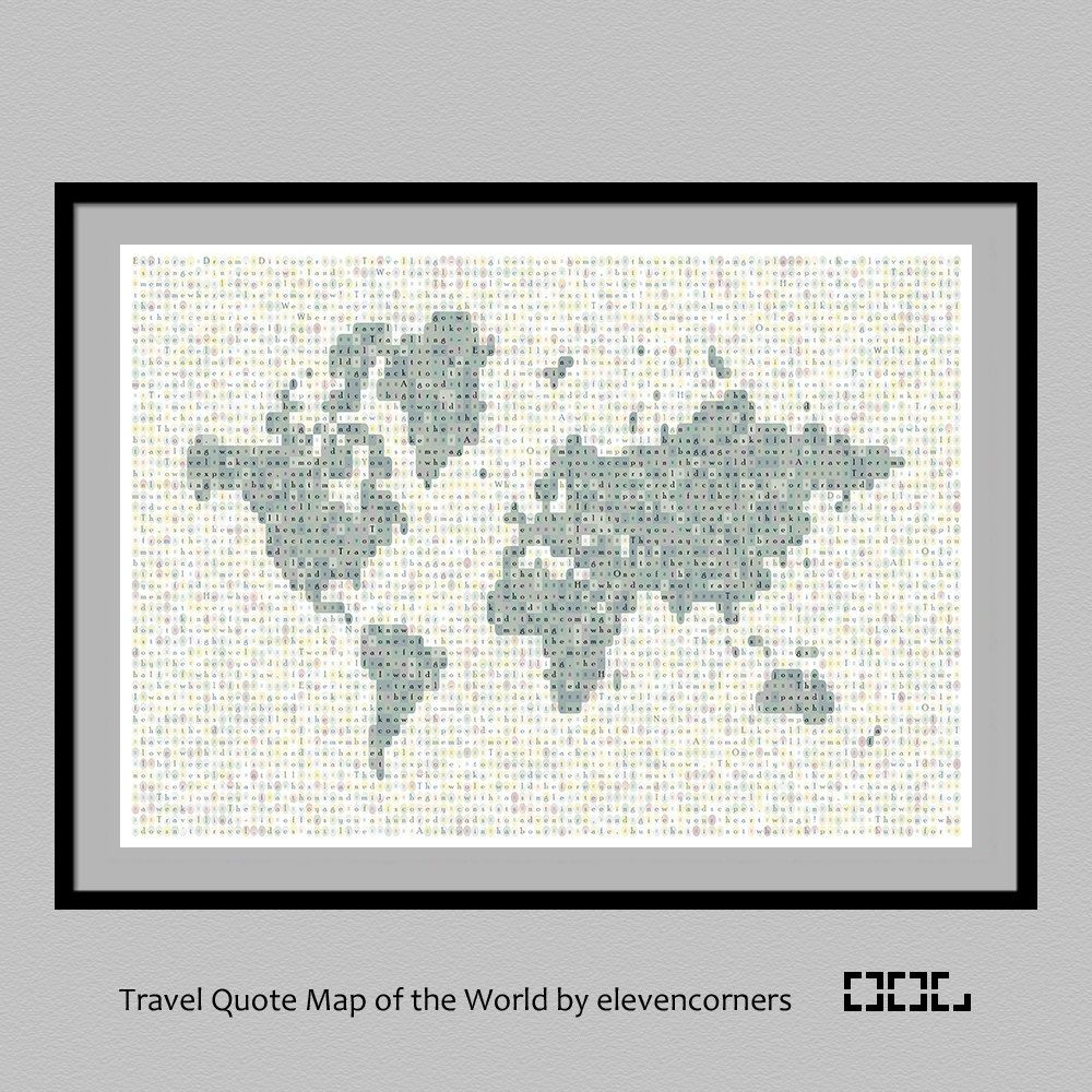 Travel quote map of the world print world map travel print travel quote map of the world print world map print housewarming gift new gumiabroncs Image collections