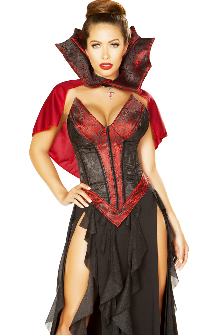 Wholesale High Quality Halloween Sexy Women Vampire Cosplay Costumes With Cape And Oversleeve