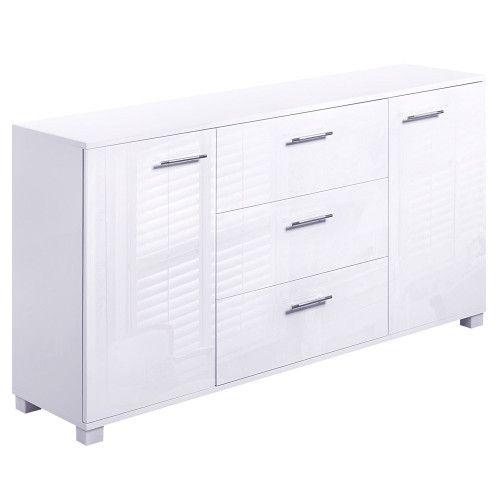 High Gloss Sideboard Storage Cabinet Mdf Panels Anti Rust Cupboard White