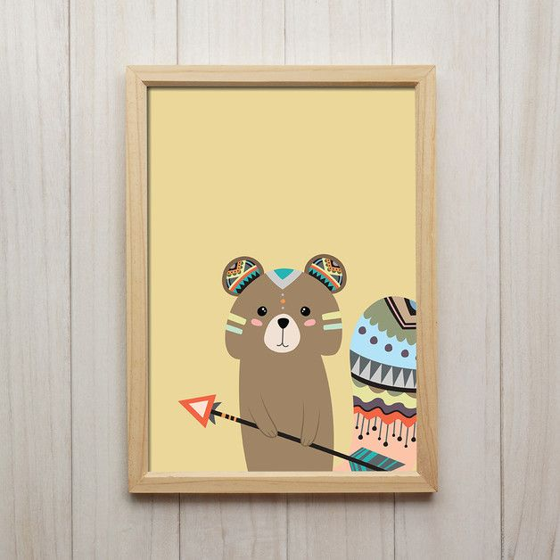 Tribal Eichhörnchen Illustration Kinderzimmer Deko