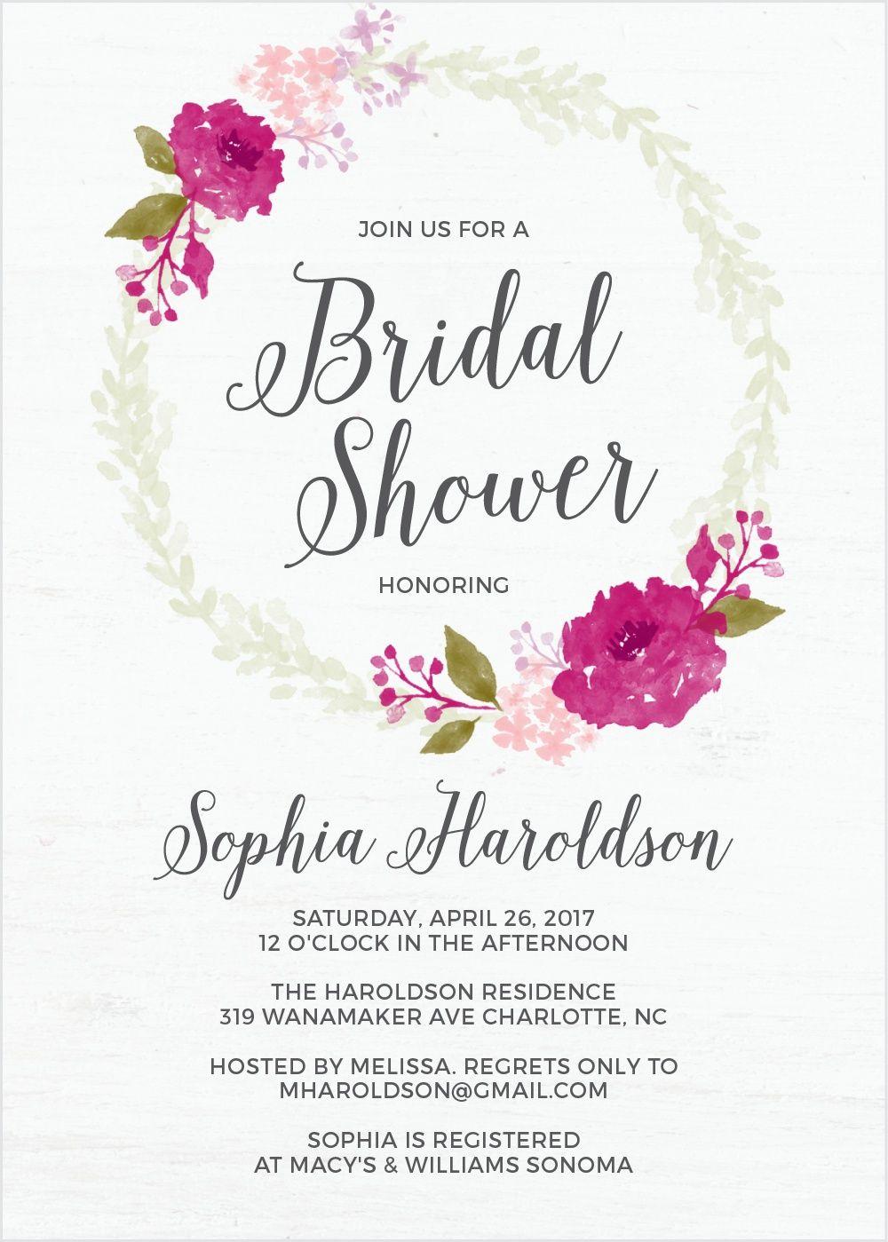 Watercolor Wreath Bridal Shower Invitations | bridal shower ideas ...
