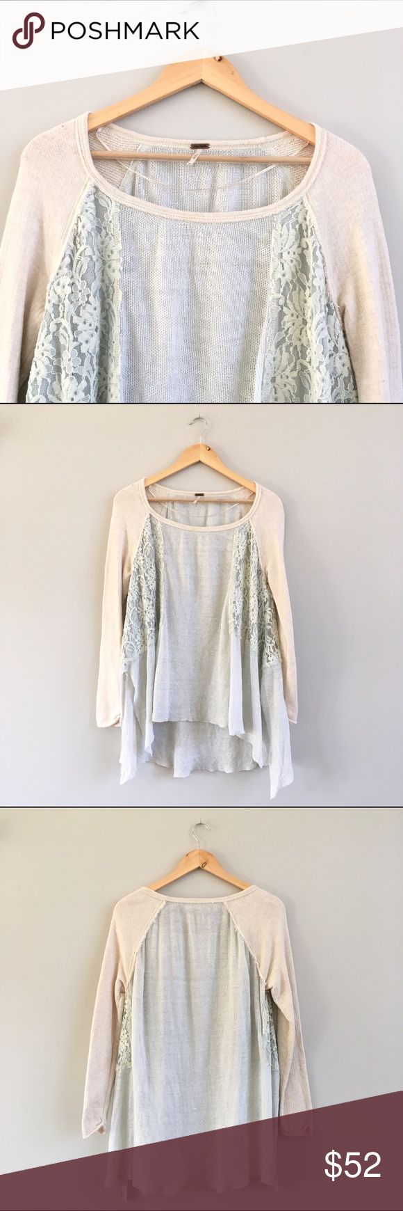 Free People Oversized Lace Baseball Sweater Lovely oversized seafoam/oatmeal baseball style sweater with lace insets on sides, perfect with skinny jeans and ankle booties. Bust: 22in, shoulder to hem: 25in, cotton/linen blend. There's a rip inside, beneath the lace on one side, but it isn't visible when wearing (see last pic). Otherwise great condition. Free People Sweaters