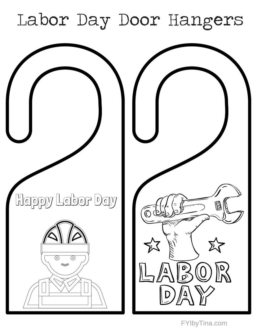 Labor Day Door Hangers Coloring Pages - Free Printable ...